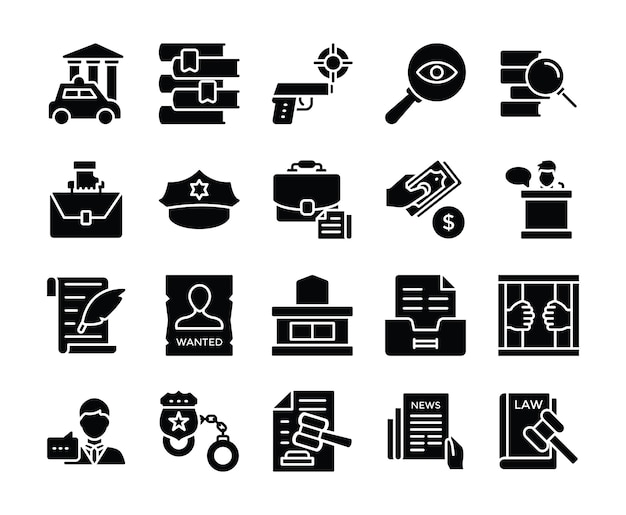 Law and justice vector icons pack