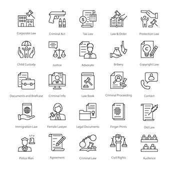 Law and justice vector icons