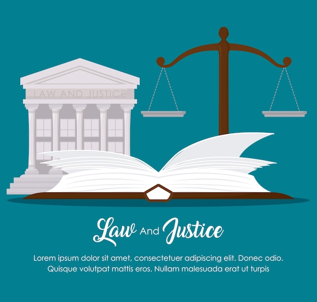 Law and justice with scale and court building icon over blue background