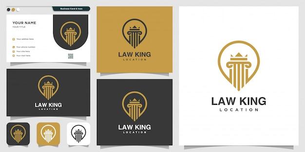 Логотип местоположения law king и шаблон дизайна визитной карточки, адвокат, правосудие, логотип булавки, логотип закона