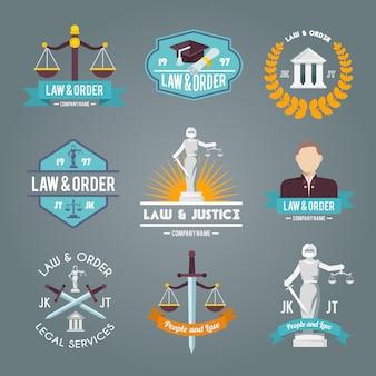 Law labels icons set