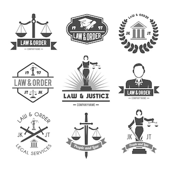 Law labels icons set