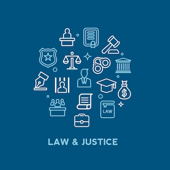 Law and lawyer services icon set