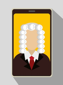 Law and legal justice judge on smartphone