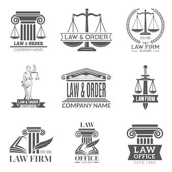 Law and legal labels. legal code, judge hammer and other corporate symbols of jurisprudence. black labels and badges of legal notes