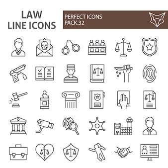 Law line icon set, justice collection