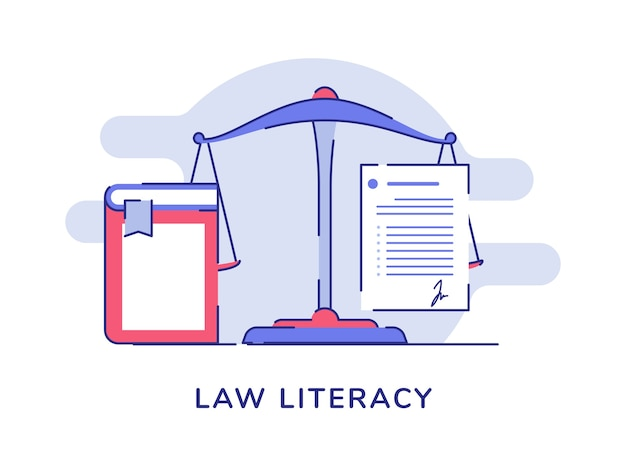 Law literacy concept balance scale white isolated background