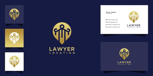 Law location logo with luxurious gold color