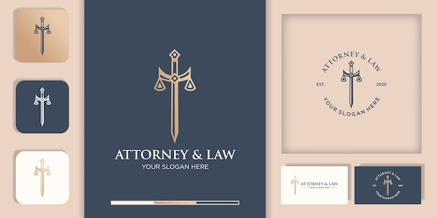 Law logo , sword of justice and business card