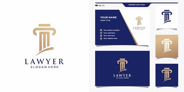 Law logo template and business card design.