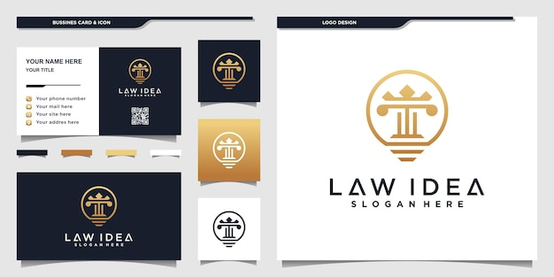 Law logo template with creative idea style and businnes card design premium vektor
