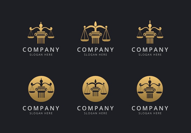 Law logo template with golden style color for the company