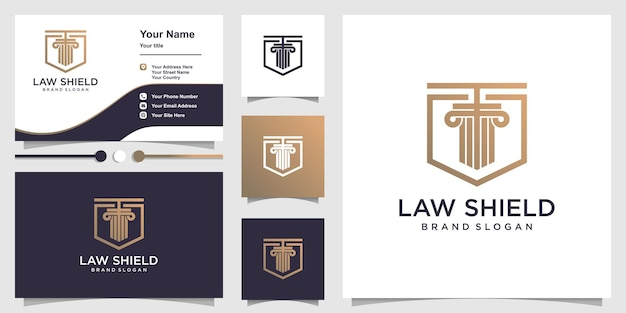 Law logo template with line art shield concept and business card design premium vector