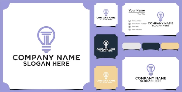 Law logo vector with judicial balance and business card