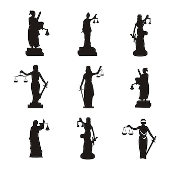Law logo with justice lady set silhouette