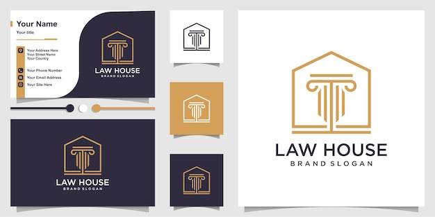 Law logo with line art house concept and business card design