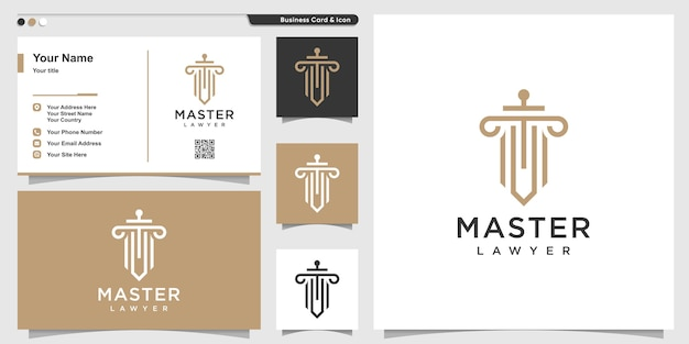 Law logo with line art style and business card design, master, lawyer, outline