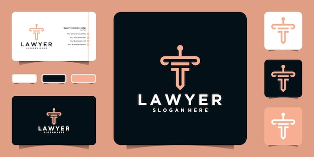 Law logo with line art style warrior shape a justice and business card inspiration