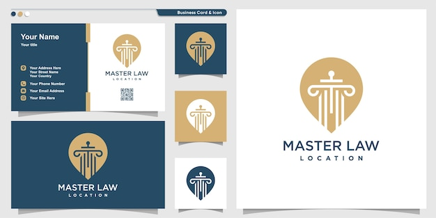 Law logo with pin point location style and business card design, master, law, justice, template