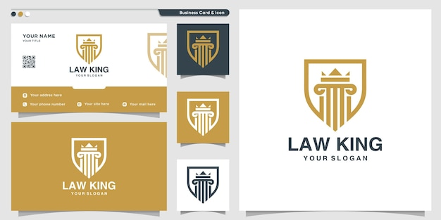 Law logo with shield style and business card  template.