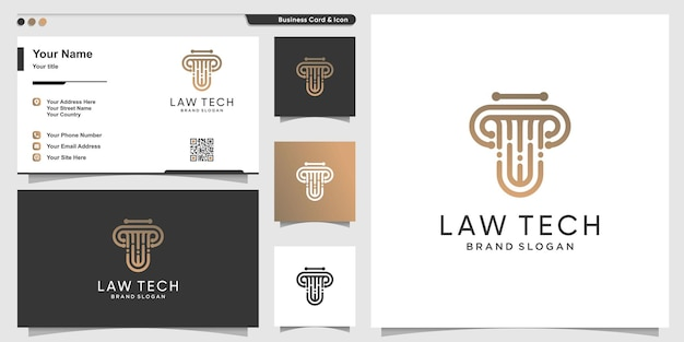 Law logo with technology concept and business card design