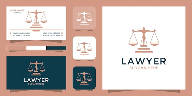 Law logotype and business card template