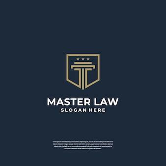 Колонна дизайна логотипа закона справедливости с символом щита. минималистичный логотип в стиле арт-линии