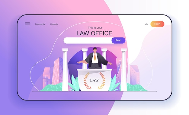 Law office concept for landing page lawyer or attorney consulting clients legal support