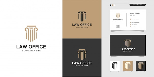 Логотип юридического офиса и дизайн визитной карточки. золото, фирма, закон, икона справедливости, визитка, компания, офис, премиум