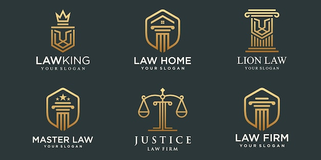 Law office logotypes set with scales of justice, pillar illustrations vector.