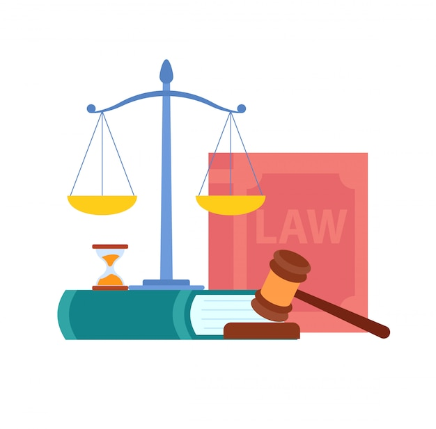 Law, order, court symbols vector illustration