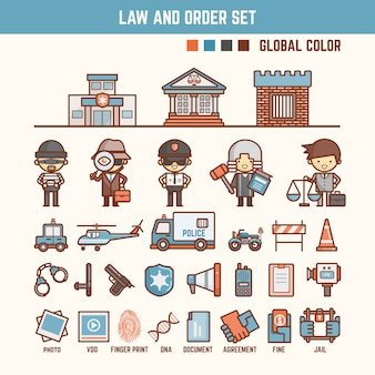 Law and order infographic elements for kid