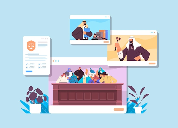 Судебный процесс с подозреваемым судьей присяжных и адвокатом или поверенным в концепции онлайн-судебного заседания windows веб-браузера