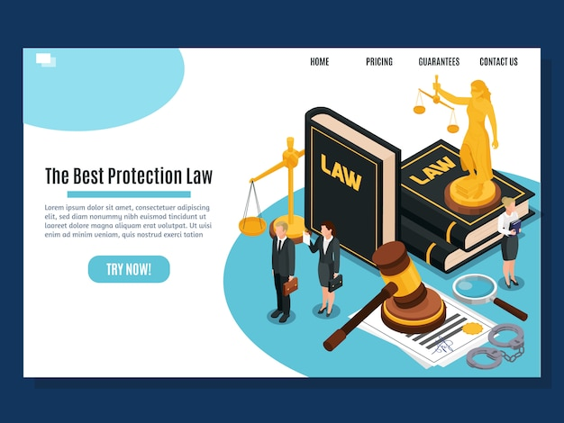 Law protection judicial and justice court systems public services home page isometric composition website design  illustration