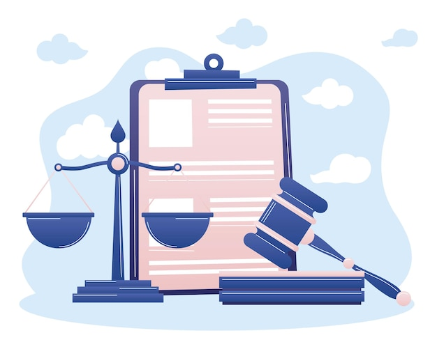 Law scale hammer and document