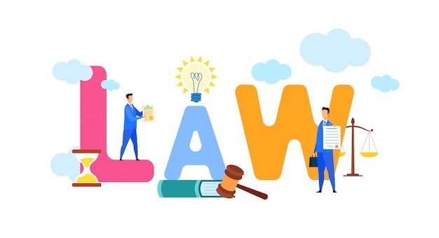 Law stylized multicolor cartoon типография