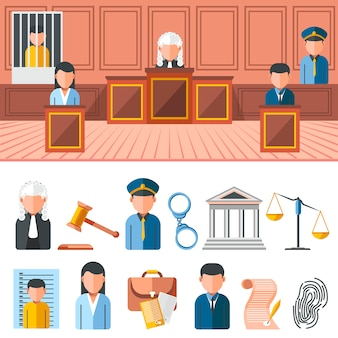 Law system banner, icon set