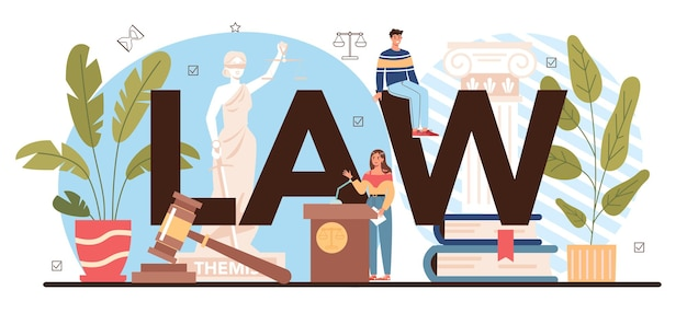 Law typographic header. punishment and judgement education. jurisprudence school course. guilt and innocence idea. vector illustration in cartoon style