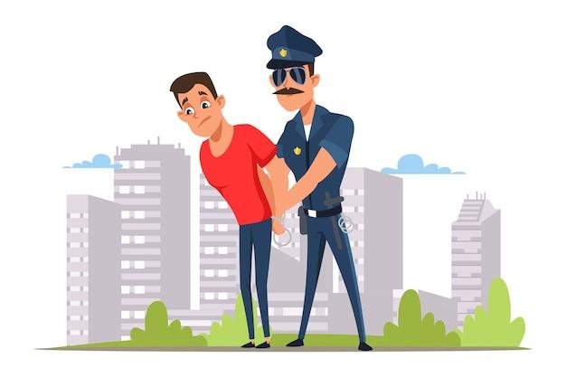 法律ブレーカー逮捕フラットイラスト、サングラスの警官と手錠の漫画のキャラクターの犯罪者。犯罪罰、法執行機関。警察官が無法者を捕まえた。警官の職業