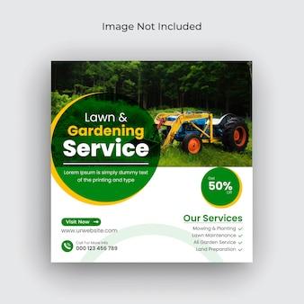 Газонный сад или ландшафтный дизайн в социальных сетях пост instagram баннер и шаблон веб-баннера premium векторы