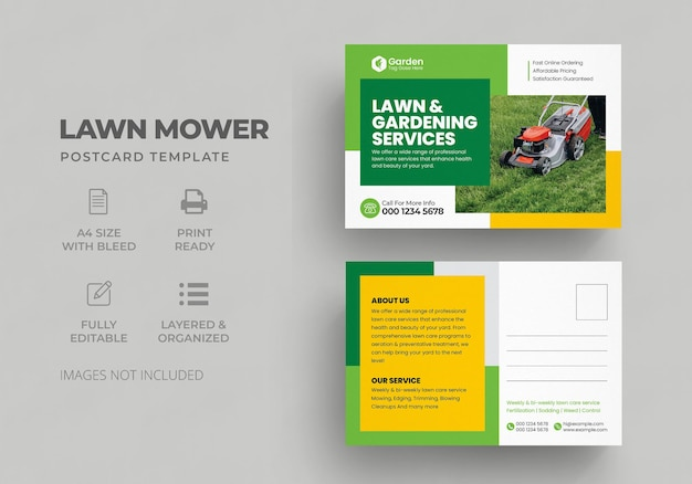 Lawn mower garden or landscaping service postcard template