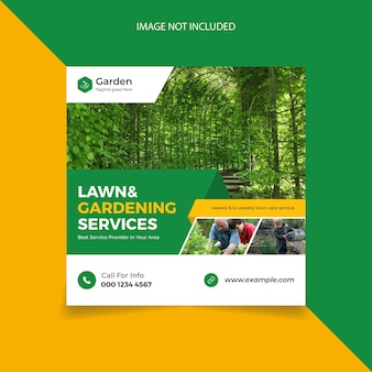 Lawn mower and gardening service social media post