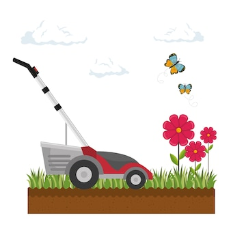 Lawn mower isolated icon