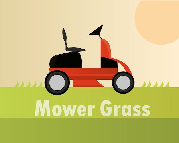 Lawn mower machine equipment gardening card illustration