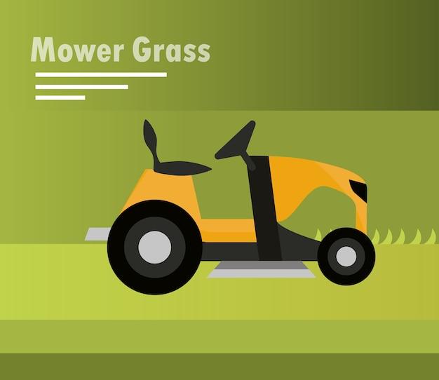 Lawn mower machine tractor on green illustration
