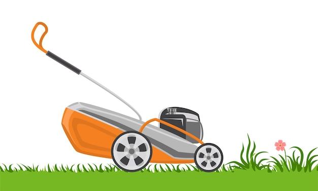 푸른 잔디에 잔디 깎는 기계.