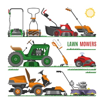 Lawn mower vector gardening lawnmower equipment mowing cutter tool illustration