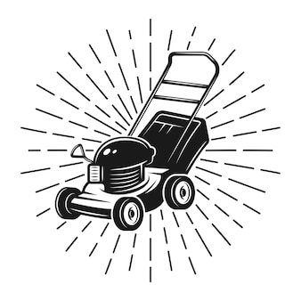 Lawn mower with rays black illustration