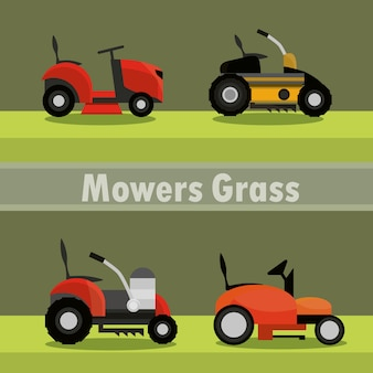 Lawn mowers electric machine equipment icons illustration