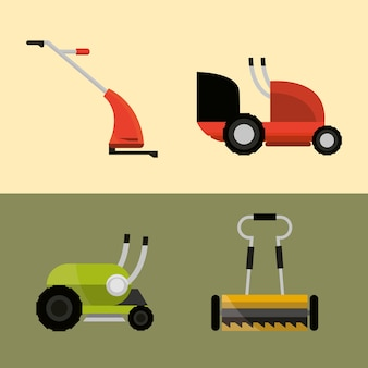 Lawn mowers machine tools different types icons illustration
